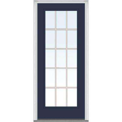 32 in. x 80 in. Grilles Between Glass Right-Hand Inswing Full Lite Clear Painted Steel Prehung Front Door