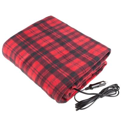 Red Plaid Polyester Electric Throw Blanket