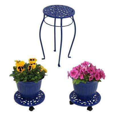 Dark Blue 5-Piece Cast Iron Planter, Caddy and Plant Stand Set