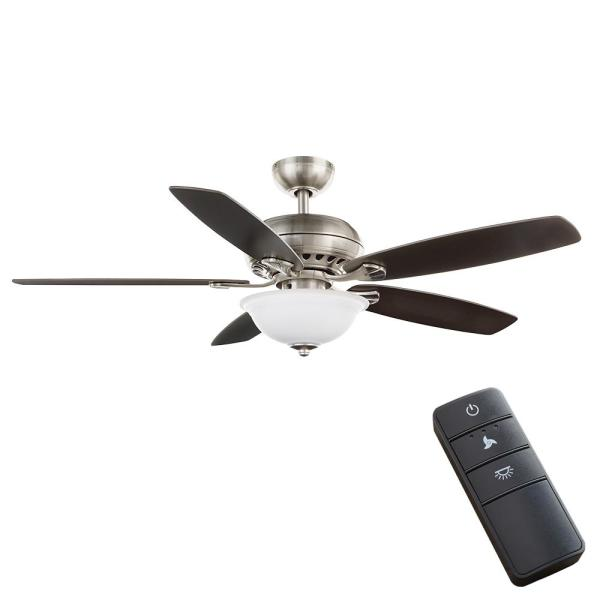 Hampton Bay Southwind Ii 52 In Led Indoor Brushed Nickel Ceiling Fan With Light Kit And Remote Control 50279 The Home Depot