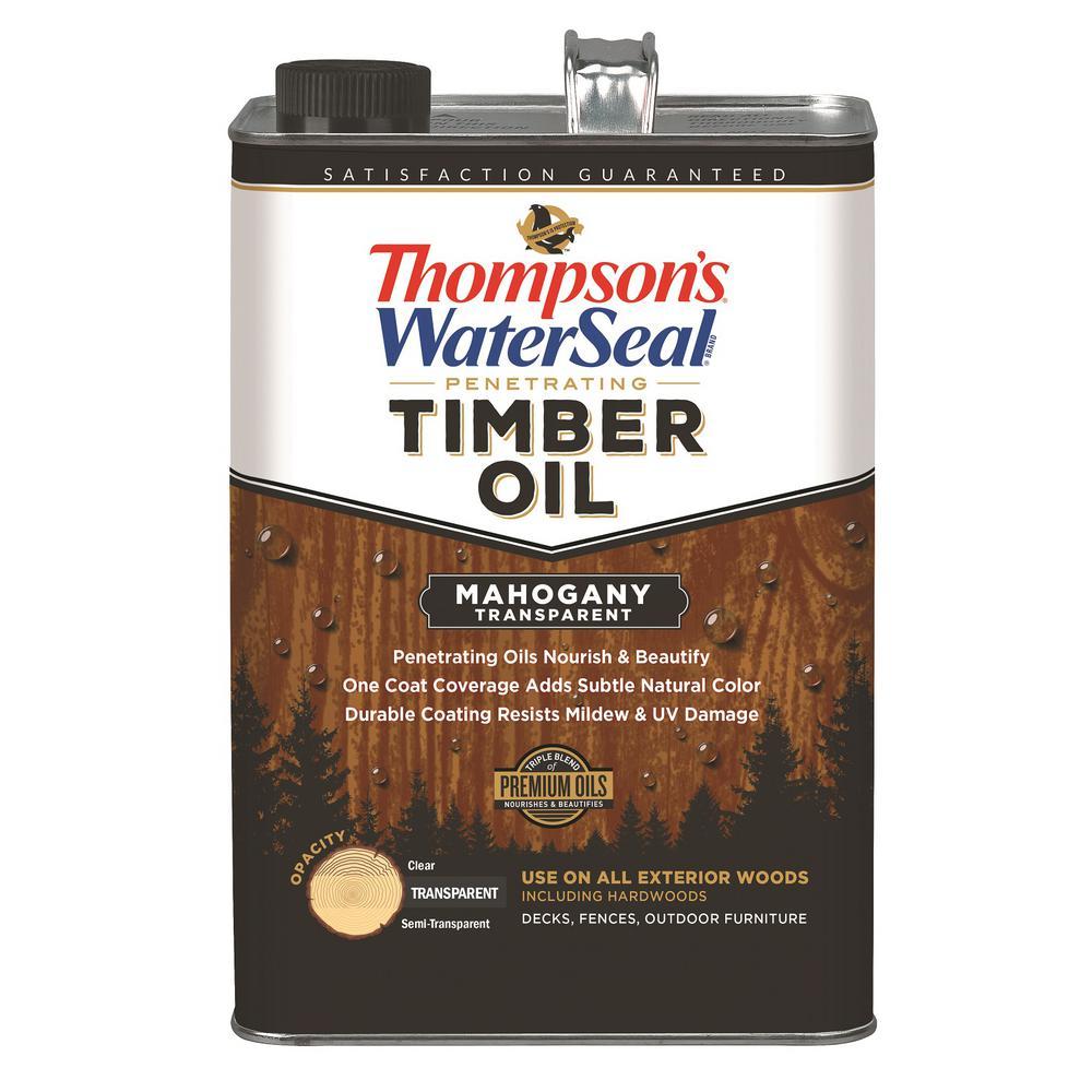 1 gal. Transparent Mahogany Penetrating Timber Oil Exterior (4-Pack)
