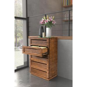 Linea 5-Drawer Walnut High Chest of Drawers