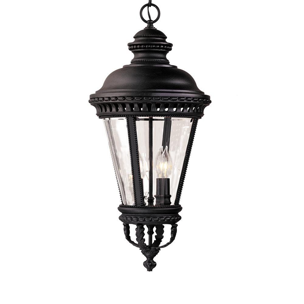 Castle 4-Light Black Outdoor Hanging Pendant