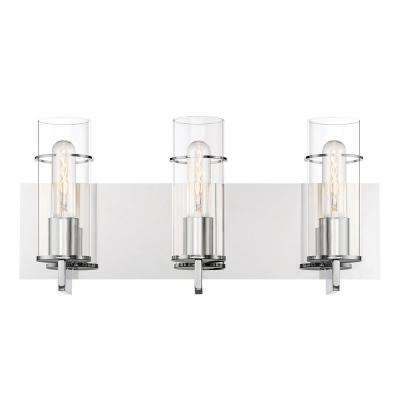 19 in. 3-Light Chrome Vanity Light with Clear Glass Shade