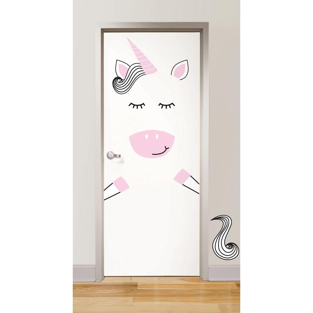 Pink Gigi the Unicorn Door Decal