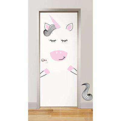 Pink Gigi the Unicorn Door Decal