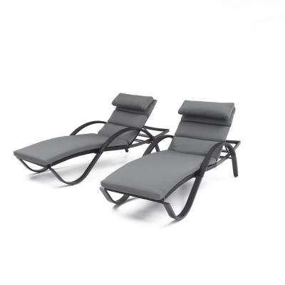 Deco Patio Chaise Lounge with Charcoal Grey Cushion and Attached Pillow (2-Pack)