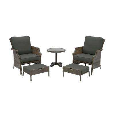 Grayson Ash Gray 5-Piece Wicker Outdoor Patio Small Space Seating Set with CushionGuard Graphite Dark Gray Cushions