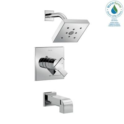 Ara 1-Handle H2Okinetic Tub and Shower Faucet Trim Kit in Chrome (Valve Not Included)