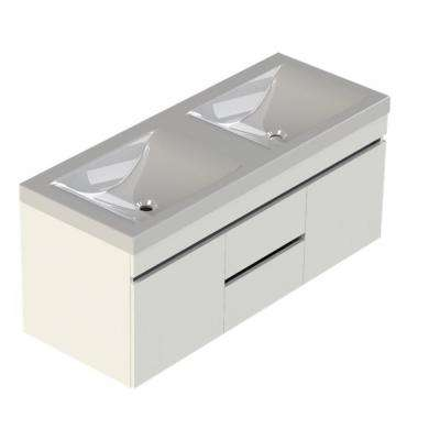 Viteli + Siena 48 in. W x 19 in. D Bath Vanity in White with Cultured Marble Vanity Top in White with Double White Basin