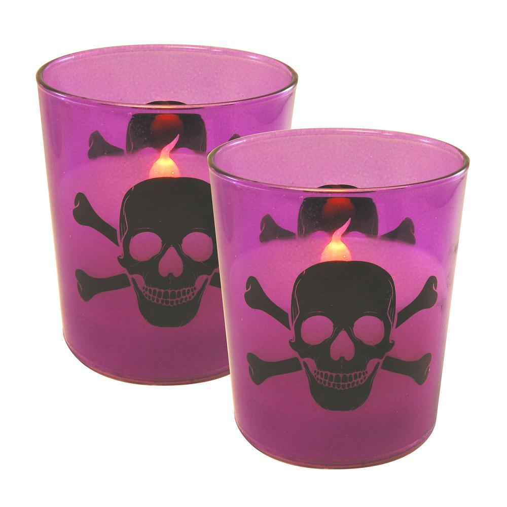 Skull and Crossbones Battery Operated LED Candles (2-Count)