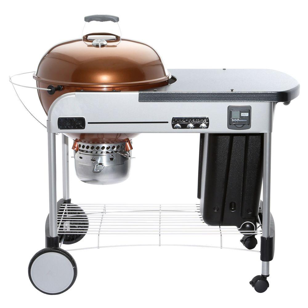 weber 22 in performer premium charcoal grill in copper with built in thermometer and digital. Black Bedroom Furniture Sets. Home Design Ideas