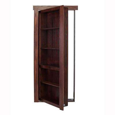 36 in. x 80 in. Flush Mount Assembled Oak Dark Brown Stained Left-Hand Outswing Solid Core Interior Bookcase Door