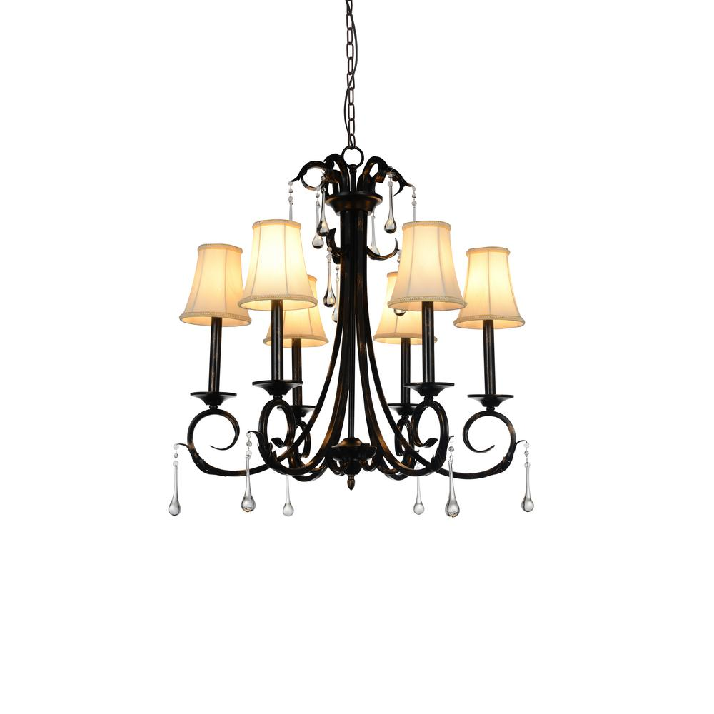 CWI Lighting Marilyn 6-Light Espresso Chandelier With