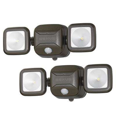 Wireless 140-Degree Bronze Motion Sensing Outdoor Integrated LED Security Flood Light (2-Pack)