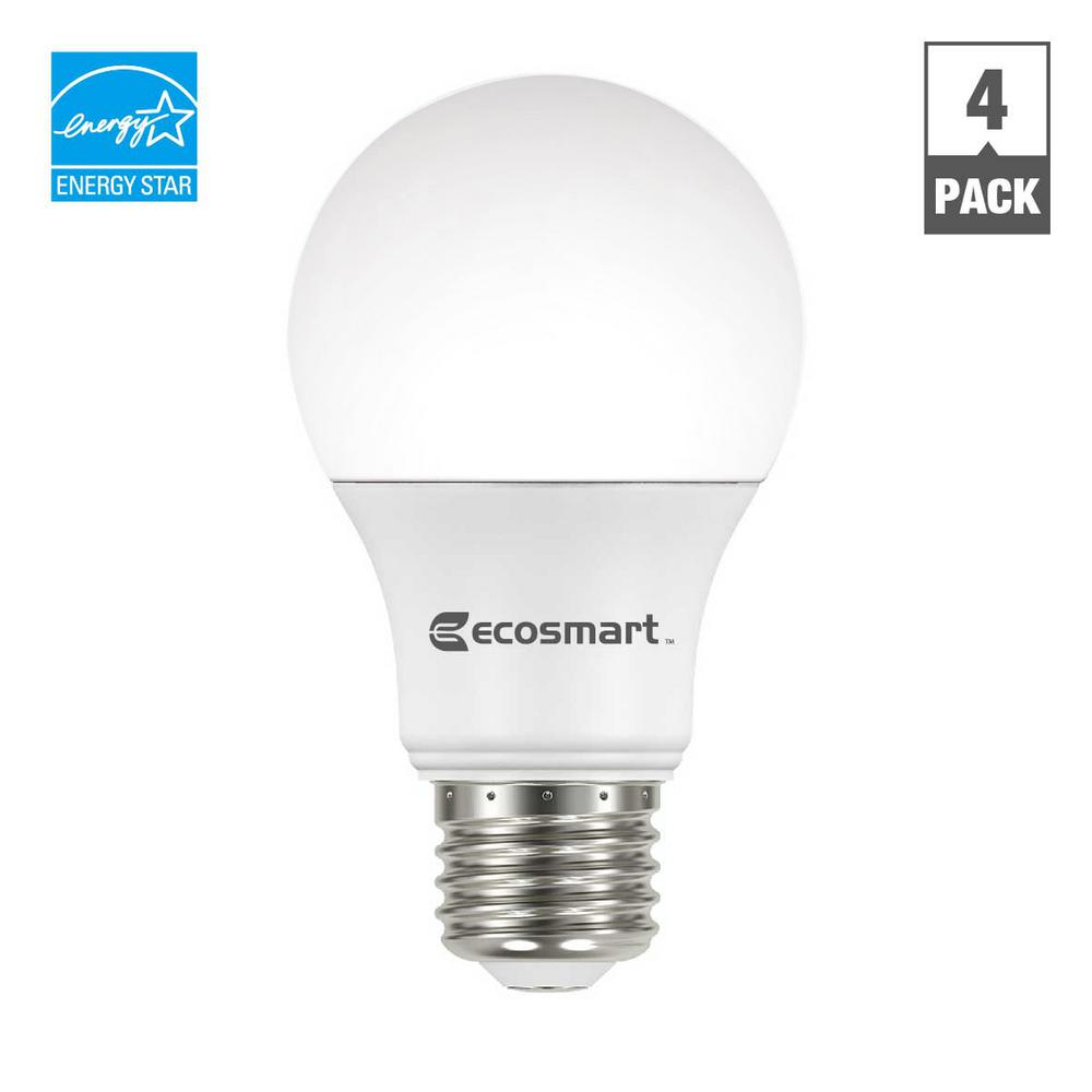 EcoSmart 60-Watt Equivalent A19 Dimmable Energy Star LED Light Bulb, Daylight (4-Pack)