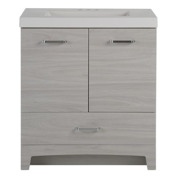 Stancliff 30.50 in. W x 18.75 in. D Bath Vanity in Elm Sky with Cultured Marble Vanity Top in White with White Basin