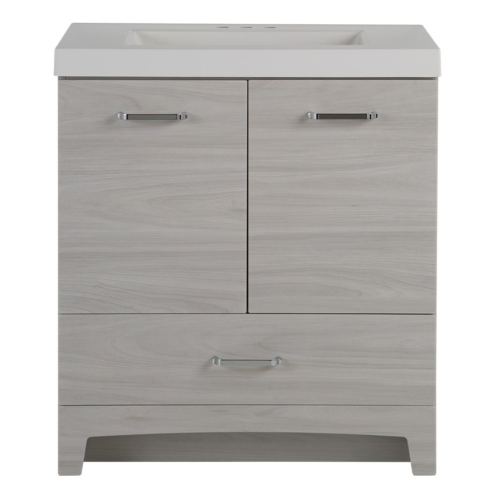 Glacier Bay Stancliff 31 in. W x 19 in. D Bathroom Vanity in Elm Sky with Cultured Marble Vanity Top in White with White Basin