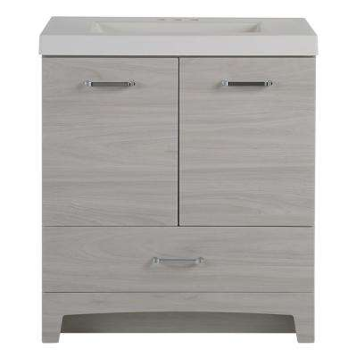 30.5 in. W x 18.75 in. D x 34.38 in. H Vanity in Elm Sky with Cultured Marble Vanity Top in White with White Basin