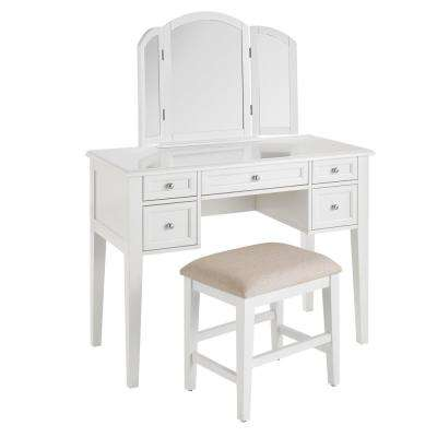 Belford White Wood Vanity Set with Tri-fold Mirror and Upholstered Stool (42.90 in W. X 54.10 in H.)