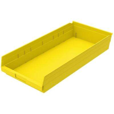Shelf Bin 20 lbs. 23-5/8 in. x 11-1/8 in. x 4 in. Storage Tote in Yellow with 2.5 Gal. Storage Capacity
