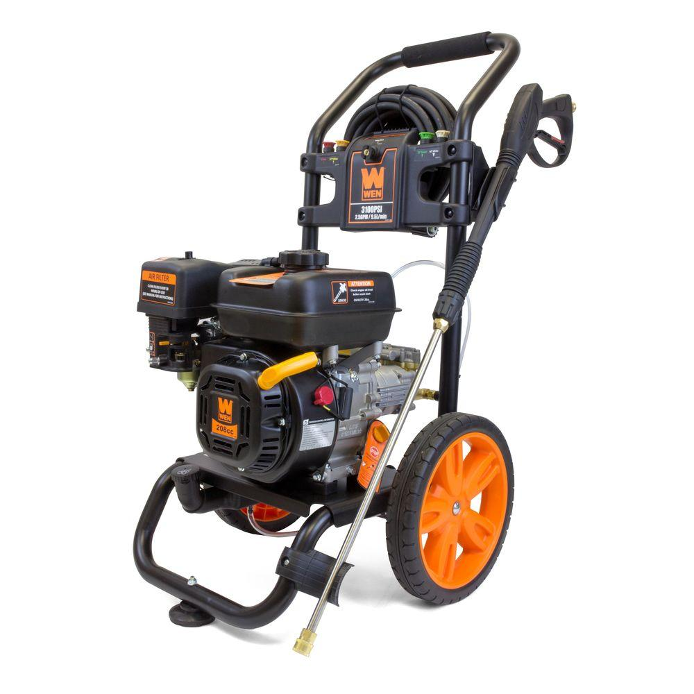 home depot pressure washers wen 3 100 psi 208cc 2 5 gpm gas pressure washer pw31 the 28665