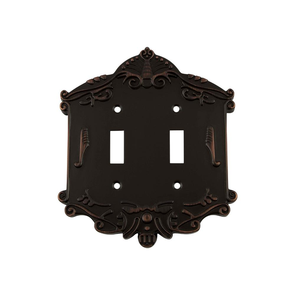 Victorian Switch Plate with Double Toggle in Timeless Bronze