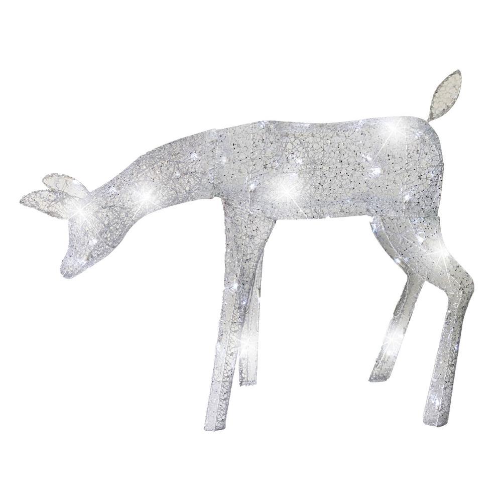 39 in. Silver Spun Glitter Elegant LED Morphing Feeding Doe Deer