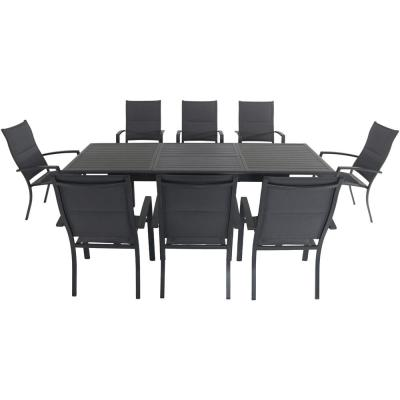 Cameron 9-Piece Aluminum Outdoor Dining Set with 8 Padded Sling Dining Chairs and an Expandable Table