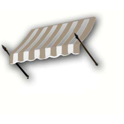 16 ft. New Orleans Awning (44 in. H x 24 in. D) in Linen/White Stripe