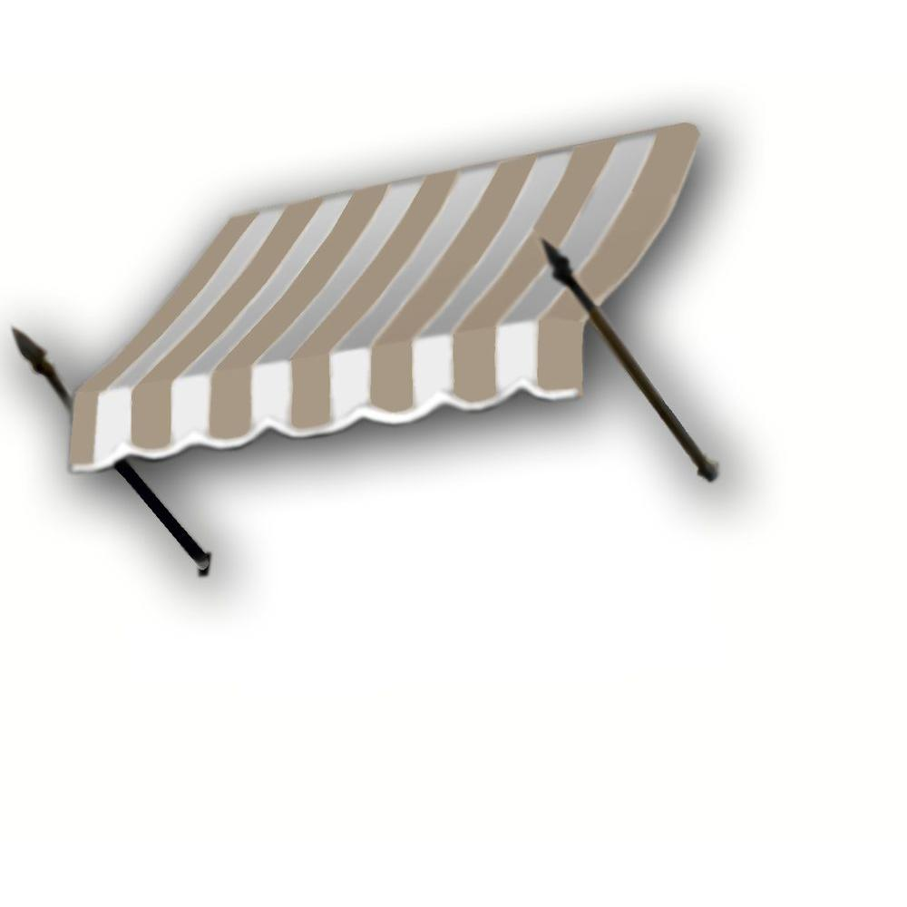 AWNTECH 45 ft. New Orleans Awning (56 in. H x 32 in. D) in Tan / White Stripe