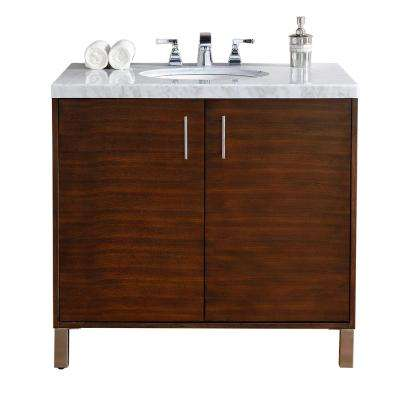 Metropolitan 36 in. W Single Vanity in American Walnut with Marble Vanity Top in Carrara White with White Basin