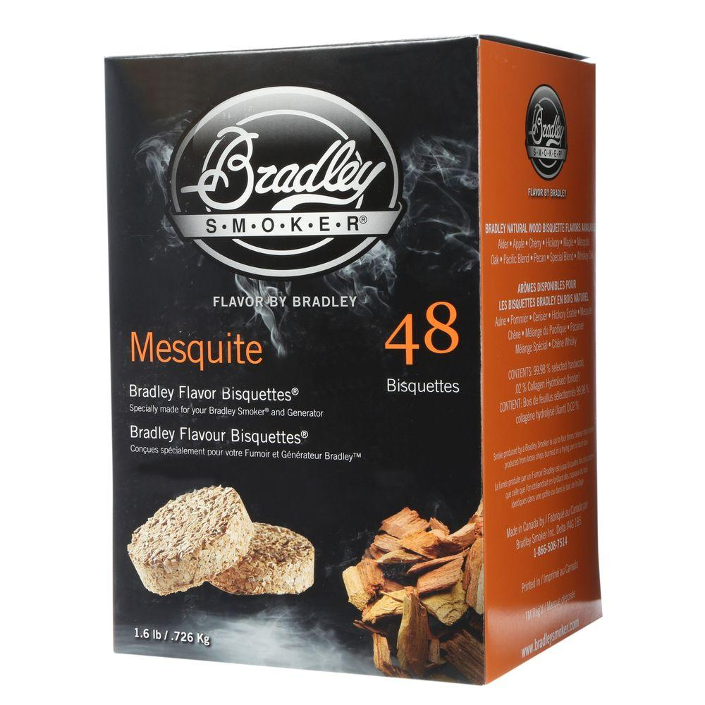 Bradley Smoker Mesquite Flavor Bisquettes (48-Pack) The Bradley Smoker Mesquite Briquettes (48-Pack) burn only to the charcoal stage, producing smoke continuously for up to 16 hours without adding tars and resins to your food. The briquettes are made of all-natural mesquite wood.