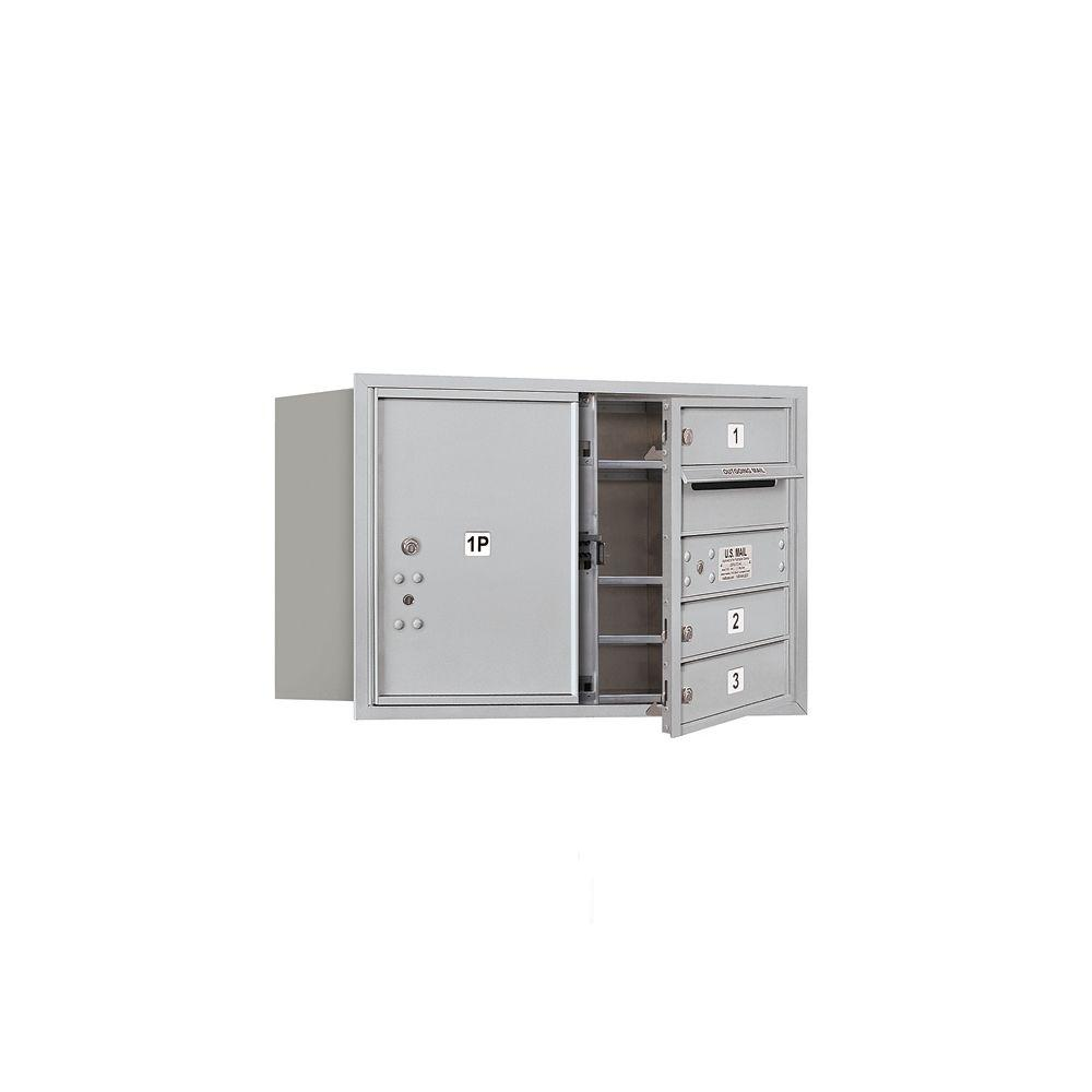 Salsbury Industries 3700 Series 20 in. 5 Door High Unit Aluminum Private Front Loading 4C Horizontal Mailbox with 3 MB1 Doors/1 PL5