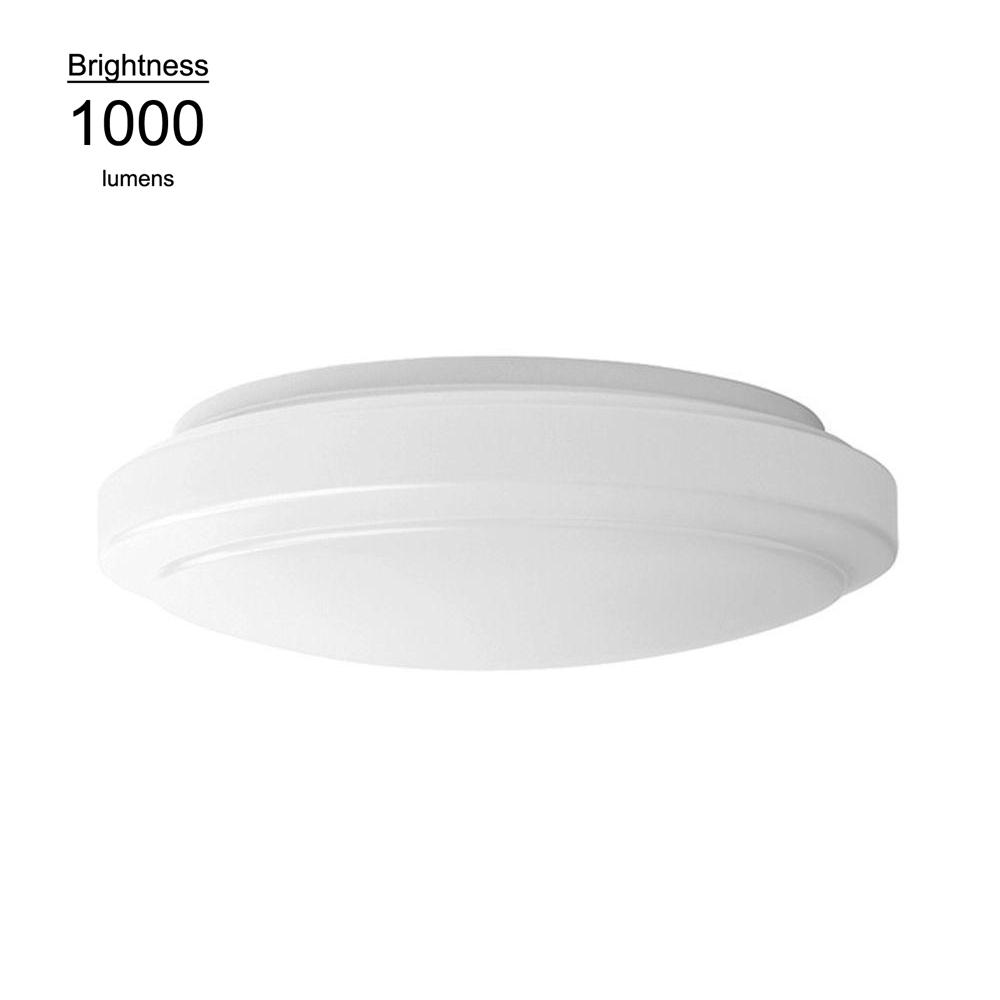 Hampton Bay 12in. 2 Light Round Bright White LED Flushmount Ceiling Light Fixture Dimmable