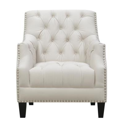 Perry Button Tufted Snow Accent Chair