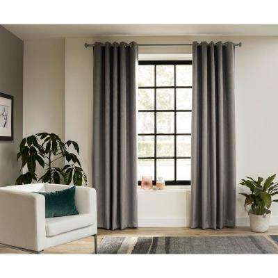 95 in. Intensions Curtain Rod Kit in Forest with Bell Finials and Open Brackets