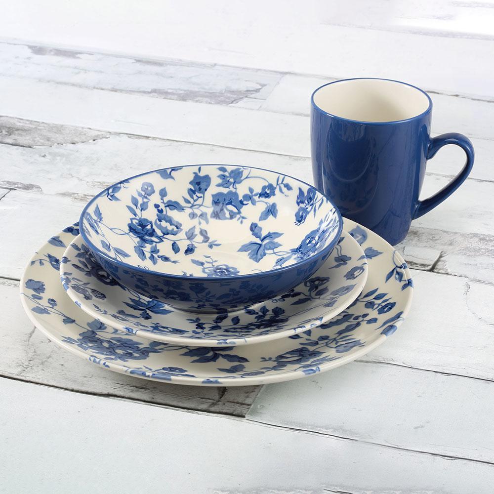 16-Piece Laura Blue Stoneware Dinnerware Set (Service for 4)