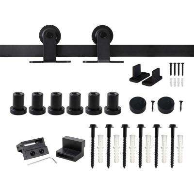 7.5 ft./90 in. Top Mount Sliding Barn Door Hardware Track Kit for Single Door with Non-Routed Floor Guide Frosted Black