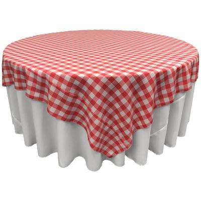 """""""90 in. x 90 in. White and Coral Polyester Gingham Checkered Square Tablecloth"""""""