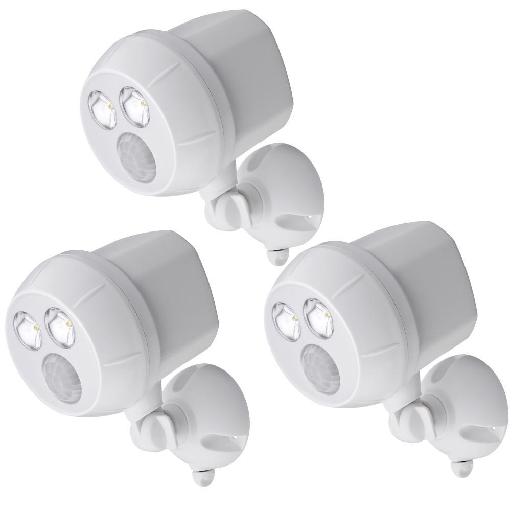 UltraBright 300 Lumen Outdoor White Wireless Motion Sensing LED Spot Light (3-Pack)