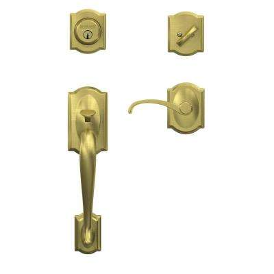 Custom Camelot Satin Brass Single Cylinder Handleset and Interior Whitney Lever with Camelot Trim