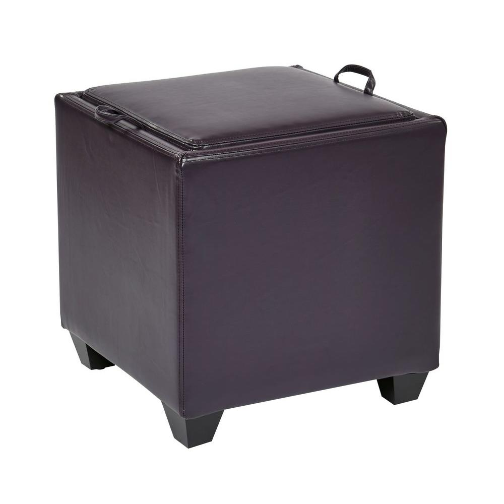OSPdesigns Eco Leather Storage Ottoman with Tray in Plum
