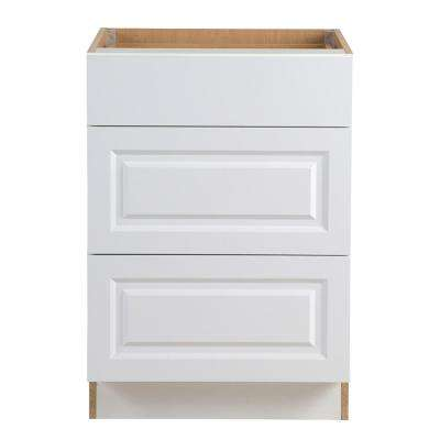Benton Assembled 24x34.5x24.5 in. Base Cabinet with 3-Soft Close Drawers in White