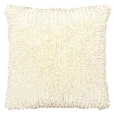 Butter Chenille 18 in. x 18 in. Ivory Decorative Pillow