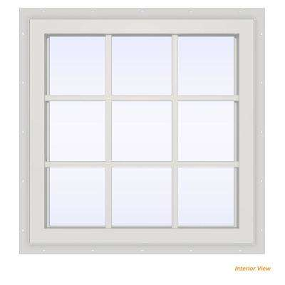 35.5 in. x 35.5 in. V-4500 Series White Vinyl Fixed Picture Window with Colonial Grids/Grilles