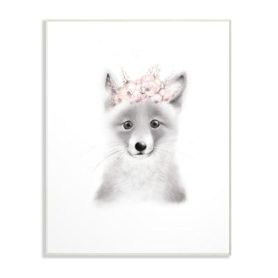 "13 in. x 19 in. ""Sketched Fluffy Fox Flowers"" by Studio Q Printed Wood Wall Art"