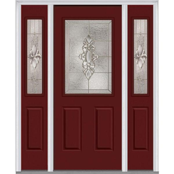 Mmi Door 68 5 In X 81 75 In Heirlooms Right Hand Inswing 1 2 Lite Decorative Painted Steel Prehung Front Door With Sidelites Z014736r The Home Depot