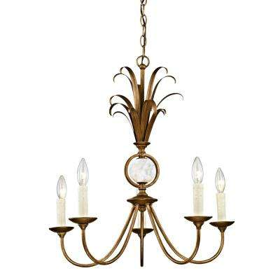 Pinnacle 5-Light Burnished Gold Pendant with Marble Accent