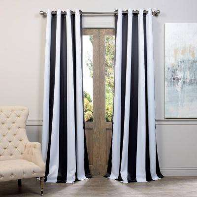 Semi-Opaque Awning Black and White Stripe - 50 in. W x 120 in. L (Pair)
